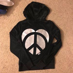 Victoria's Secret PINK Velour Peace Heart Hoodie